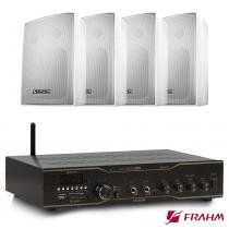 Receiver Som Ambiente Slim 3000 App Optical + 2 Pares PS 200 PLUS Branca Com Suporte - Frahm -