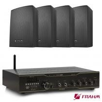 Receiver Som Ambiente Slim 3000 App Optical + 2 Pares PS 200 PLUS Preta Com Suporte -  Frahm -