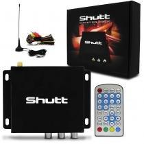 Receptor TV Digital Automotivo Shutt Padrão ISDB-T 2 Saidas AV Antena Digital e Controle Remoto -
