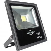 Refletor de LED 20W 6500K Slim Bivolt Preto - Brasfort - Brasfort