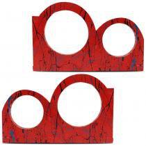 Régua Corneteira Thor para 2 Cornetas e 2 Tweeters Caixa de Som MDF Vermelho Bate Pedra 2 Peças - Thor