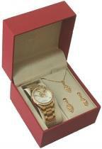Relógio analógico feminino champion com conjunto colar e brinco cn28571w - champion