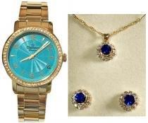 Relógio analógico feminino champion com conjunto colar e brinco cn28875n -