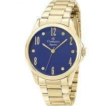 Relógio analógico feminino champion dourado cn26242a - champion