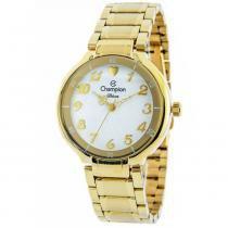 Relógio analógico feminino champion dourado cn26395h - champion