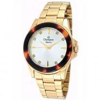 Relógio analógico feminino champion dourado cn27456m -