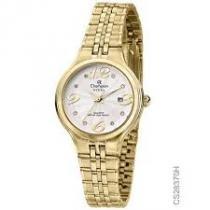 Relógio analógico feminino champion dourado cn28370h -