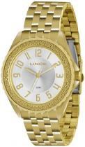 Relógio analógico feminino lince dourado -