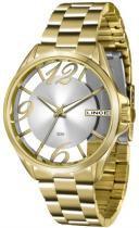 Relógio analógico feminino lince dourado - lince