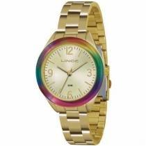 Relógio analógico feminino lince dourado lrg4326l s2kx -