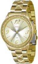 Relógio analógico feminino lince dourado lrg4343l c2kx - lince
