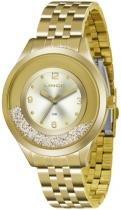 Relógio analógico feminino lince dourado lrg4348l c2kx -