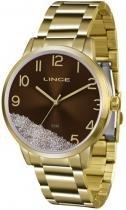 Relógio analógico feminino lince dourado lrg4379l n2kx -