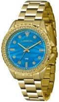 Relógio analógico feminino lince dourado lrgj059l d1kx - lince