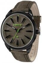Relógio analógico lince prateado pulseira de couro sint -
