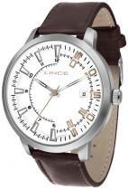 Relógio analógico lince prateado pulseira de couro sint - lince
