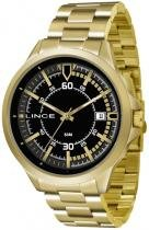 Relógio analógico masculino lince dourado - lince