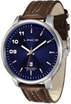 Relógio analógico masculino lince prateado pulseira de couro sint - lince