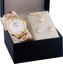 Relógio Champion Feminino Cn25163w - Kit Colar E Brincos -