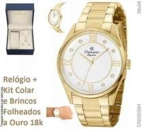 ac9d7f8d7cf Relogio Champion Feminino Dourado Cn25038w + Kit Semi Joia -
