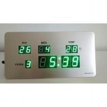 Relógio de Mesa Painel Led Verde Digital Calendário Hora Temperatura - Maya