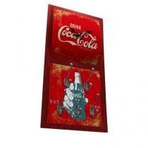Relógio de Parede com Cabide Coca Cola Vintage - Vermelho - Único - Gorila Clube