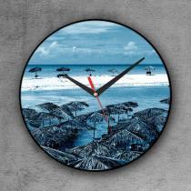 Relógio de parede decorativo, criativo e descolado  Praia azul - Colours  creative photo decor