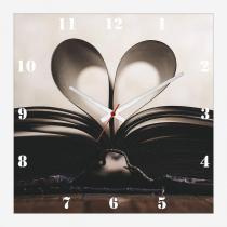 76f8535ca7f Relógio de Parede Vintage Decorativo Livro Aberto Coração 30x30cm - Decore  pronto