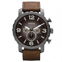 9f670aed77d Relógio de Pulso Fossil Masculino com Pulseira de Couro JR1424 2PI -  Grafite e Marrom