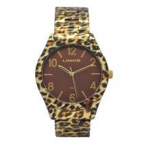Relógio de Pulso Lince Animal Print Feminino LRB4214L - Dourado e Marrom - b5405a8fea
