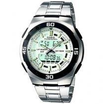 Relógio de Pulso Masculino Social Anadigi - Cronômetro Casio Mundial AQ-164WD-7AV