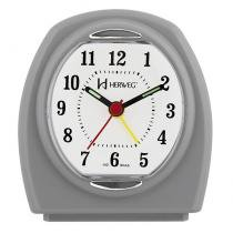 Relogio despertador decorativo alarme sonoro mecanismo step cinza herweg - Herweg