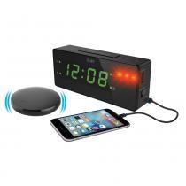 Relógio despertador time shaker com led, alarme sonoro/luminoso e unidade vibratória - Iluv