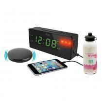Relógio despertador Time Shaker LED, alarme sonoro/luminoso + Squeeze em alumínio - Iluv