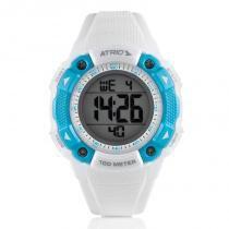 Relógio Digital Feminino Atrio Iridium Esportivo Branco e Azul À Prova DÁgua ES098 -