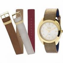 Relógio Dumont All Color Dourado Troca Pulseiras Fashion -