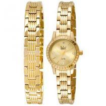 Relógio dumont feminino dupla pulseira - UNICA - UNICA - DUMONT