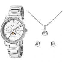 Relógio Feminino Champion Analógico - CH38440D Prata com Colar e Brinco