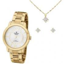 Relógio Feminino Champion Analógico Passion - Dourada com Brinco e Colar