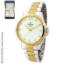 22075b61077 Relógio Feminino Dourado Champion Cn27563C + Kit Bijouteria -