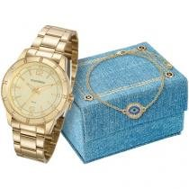 Relógio Feminino Mondaine Analógico - Resistente à Água 99165LPMVDE2K1 com Bijouteria