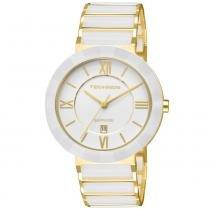 66f29bf8338 Relógio Feminino Technos Ceramic 2015BV 4B 40mm Aço Dourado Cerâmica Branca  -