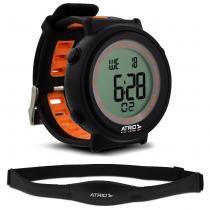 Relógio Heart Rate Atrio Fortius Preto e Laranja Monitor Cardíaco Com Cinta ES049 -