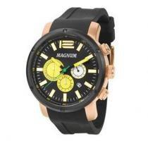 Relógio magnum ma34683p cronografo rosê pulseira silicone preto - Magnum