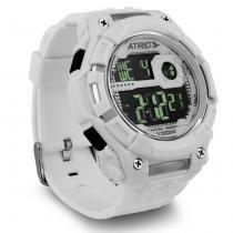Relógio Masculino Atrio Nickel LCD Multifunção Branco Alarme Cronômetro -
