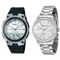 Relógio Masculino Casio Anadigi AW-80-7AVDF - Resistente à Água + Relógio Feminino Seculus