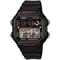 Relógio Masculino Casio Digital - Resistente à Água Cronômetro AE-1300WH-1A2VDF