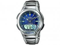 Relógio Masculino Casio Mundial AQ-180WD-2AV - Anadigi Resistente á Água com Cronômetro