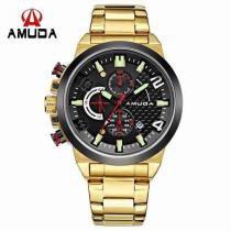 Relógio Masculino Dourado Luxo Amuda - Am5015 -