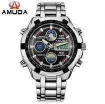 Relógio Masculino Grande Prata Amuda Luxo - Modelo 2002 -